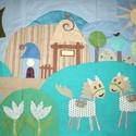 Lovas ágytakaró 100 x 140, Baba-mama-gyerek, Otthon, lakberendezés, Gyerekszoba, Falvédő, takaró, Lakástextil, Falvédő, Megrendelésre készülő lovacskás ágytakaró (lehet kérni falvédőként is, fülecskékkel). E..., Meska