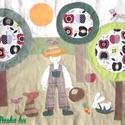 Kertes-almafás falikép 120x60 cm, Baba-mama-gyerek, Gyerekszoba, Falvédő, takaró, Falvédő, Színes és mintás pamutvásznakból készült ez a falikép, melyet magam terveztem. Applikációs technikáv..., Meska