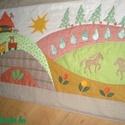 Lovas falvédő 150x80 cm, Baba-mama-gyerek, Gyerekszoba, Falvédő, takaró, Színes és mintás pamutvásznakból készült ez a falikép.  Applikációs technikával kerültek rá a figurá..., Meska