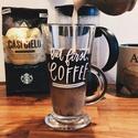 """Kávéimádók bögréje , Otthon, lakberendezés, Konyhafelszerelés, Dekoráció, Mindenmás, """"But first, COFFEE"""" – üveg kávésbögre feliratozva.    Minden kávé rajongónak az első gondolata mind..., Meska"""