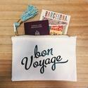 """BonVoyage cipzáros vászon laptáska, Táska, Pénztárca, tok, tárca, Erszény, Mindenmás, Világutazóknak kötelező! ;)   Eladó a képen látható vászontáska """"Bon Voyage"""" felirattal, arany szín..., Meska"""