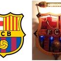 Steampunk stílusban készült FC Barcelona logó, Férfiaknak, Steampunk ajándékok, Legénylakás, Focirajongóknak, Famegmunkálás, Fémmegmunkálás, A képen látható alkotás egyedi tervezésű és kivitelezésű, steampunk (neo-viktoriánus) stílusban kés..., Meska