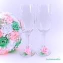 Esküvői pezsgős pohár szett, Esküvő, Esküvői dekoráció, Varrás, Virágkötés, Szaténrózsával díszített esküvői pezsgőspohár dísz (2 db.) Kérhető más színben, vagy színkombináció..., Meska