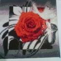 Mozaik kép (újdonság)rózsa, Képzőművészet, Vegyes technika, Festészet, Gyöngyfűzés, Mérete 20x20 cm keret nélkül szállítva. A kép műanyaghatású vászon alapra ragasztással készül.  A k..., Meska