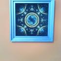 mandala mozaik kép , Otthon, lakberendezés, Falikép, Mozaik, Festészet, Mérete 20x20 cm festett polisztirol kerettel, akasztóval szállítva. A kép műanyaghatású vászon alap..., Meska