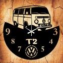 VW T2 bakelit óra, egyedi felirattal, Otthon, lakberendezés, Falióra, Mindenmás, Újrahasznosított alapanyagból készült termékek, Vagány bakelit falióra ajándékba, vagy Neked!  A csomag tartalma: 1 db a választott téma szerinti b..., Meska