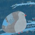 A boldogság kék madara - nyomat, illusztráció, Dekoráció, Képzőművészet, Kép, Illusztráció, 25x25 cm-es print 250 g/m2-es matt műnyomópapíron. A papír mérete 29x29cm, a fehér sávot le lehet vá..., Meska