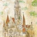 Mátyás templom, Budapest - illusztráció, Képzőművészet, Dekoráció, Illusztráció, Kép, A4-es print 250 g/m2-es matt műnyomópapíron. A papír mérete 23x32cm, a fehér sávot le lehet vágni, v..., Meska