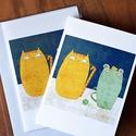Egér-macska barátság képeslap, Naptár, képeslap, album, Képzőművészet, Képeslap, levélpapír, Grafika, Képeslap sorozatot készítettem az illusztrációimból. Mindegyik 250 grammos, törtfehér, jó minőségű, ..., Meska