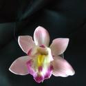Orchidea hajdísz, Esküvő, Hajdísz, ruhadísz, Nagyon szép hajdísz. Hab Cymbidium orchidea műanyag csipeszen. A virág mérete 9cm a csipesz 6cm hoss..., Meska