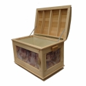 Bükkfa láda textill oldalbetétekkel, Natúr, tömör bükkfából készült láda texti...