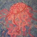 Fénylő medúza, Ruha, divat, cipő, Kendő, sál, sapka, kesztyű, Kendő, Sál, Fénylő medúzánk egy 50x50 cm-es helyemsernyó kendőn lakik télen-nyáron. Sötétben időnkén..., Meska