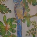 Trópusi papagáj, Ruha, divat, cipő, Kendő, sál, sapka, kesztyű, Kendő, Sál, Selyemfestés, A színes arapapagájom egy 45x480 cm-s hernyóselyem kendőről röppene a trópusok világából a szekrény..., Meska