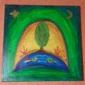 Az 5 elem, Képzőművészet, Festmény, Akril, Napi festmény, kép, Festészet, 40x40 vászon akril fakeretre kasírozva  Egyik kedvenc selyemre festett mintámat most akrillal vászo..., Meska
