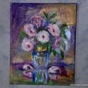 Váza virágokkal, Képzőművészet, Festmény, Akril, 30x24 cm akril vászon festmény  Csendélet virágokkal vázában. Fa lécre feszített vászonnal,..., Meska