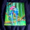 Szerelem a liánok között, Dekoráció, Otthon, lakberendezés, Kép, Falikép, 18x24 cm kasírozott vászon akril festmény  2 kis papagáj a dzsungelben a liánok közt, gondosko..., Meska