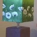 Mákvirág mintás, selyem rátétes lámpaernyő kerámia lámpatesttel, Otthon, lakberendezés, Lámpa, Asztali lámpa, Hangulatlámpa, Selyemfestés, Különleges, egyedi technikával készült, selyem rátétes lámpaernyő. Különleges, hangulatos fényt ára..., Meska