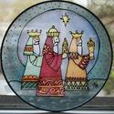 Három királyok karácsonyi selyem ablakkép