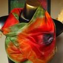 Narancs-piros pipacsos, egyedi tervezésű selyemkendő