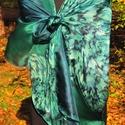 Benetonzöld, varázsgyöngy technikával készült, egyedi tervezésű, kézzel festett selyemsál