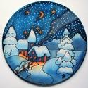 Karácsonyi havas templom ablakkép, Dekoráció, Ünnepi dekoráció, Karácsonyi, adventi apróságok, Karácsonyi dekoráció, Festészet, Selyemfestés, Különleges, ünnepi hangulatot árasztó, selyem ablakkép. Kontúr technikával készült selyemkép. Az ab..., Meska