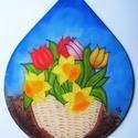 Tulipán, nárcisz kosár selyem ablakkép