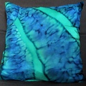 Benetonzöld-kék effekt mintás  díszpárna, Otthon, lakberendezés, Dekoráció, Lakástextil, Párna, Egyedi tervezésű, kiváló minőségű anyagokból effekt technika alkalmazásával készült különleges színv..., Meska