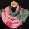 Pünkösdirózsa, rózsaszín zöld egyedi tervezésű selyemsál