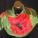Narancs-piros pipacsos, egyedi tervezésű selyemsál