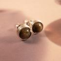 Obszidián ezüst bedugós fülbevaló, Ékszer, óra, Fülbevaló, Bedugós fülbevaló 6 mm nagyságú arany obszidián gyöngyökből ezüst ékszerdrótból. Jelzett sterling ez..., Meska