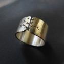 Fa ezüst gyűrű (10mm széles, kalapált), Ékszer, óra, Gyűrű, Gyűrű fa mintával, Sterling ezüstből. Fűrészelt, hajlított, rusztikusra kalapált.   Méret: igény sze..., Meska