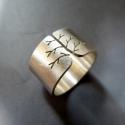 Fa ezüst gyűrű (széles, matt), Ékszer, óra, Gyűrű, Gyűrű fa mintával, Sterling ezüstből. Fűrészelt, hajlított, kalapált.   Méret: igény szerint Széless..., Meska