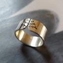 Fa ezüst gyűrű (fényes, 8 mm széles), Ékszer, óra, Gyűrű, Gyűrű fa mintával, Sterling ezüstből. Fűrészelt, hajlított, fényesre políozva.  Méret: igény szerint..., Meska