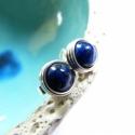 Lápisz lazuli ezüst bedugós fülbevaló, Ékszer, Fülbevaló, Bedugós fülbevaló 6 mm nagyságú lápisz gyöngyökből, ezüst ékszerdrótból. Jelzett sterling ezüst stop..., Meska