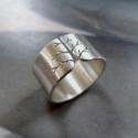 Fa ezüst gyűrű (10mm széles, szatén)