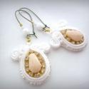 Sujtás fülbevaló, Fehér esküvő, Bohém menyasszony - Boho bridal soutache long earrings, Esküvő, Ékszer, Esküvői ékszer, Sujtás fülbevaló, Fehér esküvő, Bohém menyasszony - Boho bridal soutache long earrings  Ajánlom eskü..., Meska