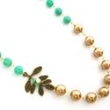 Vintage Botanical Bride lánc türkiz és arany gyöngyös, Ékszer, Esküvő, Nyaklánc, Esküvői ékszer, Vintage Botanical Bride lánc türkiz és arany gyöngyös  Ajánlom vintage hangulatú esküvőre a menyassz..., Meska
