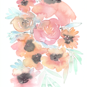 Vadvirág akvarell csokor - art print (akvarell festményem alapján), Képzőművészet, Otthon, lakberendezés, Festészet, Fotó, grafika, rajz, illusztráció, Vadvirág akvarell csokor - art print (akvarell festményem alapján)  Méret: 21 x 29,7 cm (A4)  Rózsa..., Meska