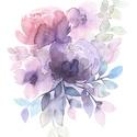 """Lila Peónia akvarell virágok és levélkék - art print (akvarell festményem alapján), Képzőművészet, Illusztráció, Festmény, Akvarell, Festészet, Fotó, grafika, rajz, illusztráció, Lila Peónia akvarell virágok és levélkék - art print (akvarell festményem alapján)   """"Kerti virágok..., Meska"""