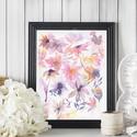 Falikép: Táncoló virágok - Akvarell virágok és levélkék - rózsaszín és lila virágos poszter, mini art print, Képzőművészet, Otthon, lakberendezés, Festmény, Akvarell, Festészet, Fotó, grafika, rajz, illusztráció, Falikép: Táncoló virágok - Akvarell virágok és levélkék - rózsaszín és lila virágos poszter, mini a..., Meska