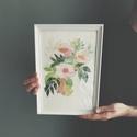 """Akvarell virágok és levélkék - art print (akvarell festményem alapján), Képzőművészet, Illusztráció, Festmény, Akvarell, Festészet, Fotó, grafika, rajz, illusztráció, Akvarell virágok és levélkék - art print (akvarell festményem alapján)   """"Kerti virágok"""" Méret: 21 ..., Meska"""
