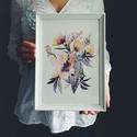 Falikép: Lila virágok - Akvarell virágok és levélkék - virágos poszter, art print, Képzőművészet, Otthon, lakberendezés, Festmény, Akvarell, Falikép: Lila virágok - Akvarell virágok és levélkék - virágos poszter, art print  MINI art print (a..., Meska