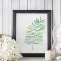 Falikép: zöld leveles kép art print (akvarell festményem alapján), Képzőművészet, Illusztráció, Festmény, Akvarell, Festészet, Fotó, grafika, rajz, illusztráció, Falikép: zöld leveles kép art print (akvarell festményem alapján)  Méret: 21 x 29,7 cm (A4)  Szépsé..., Meska