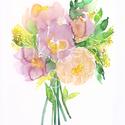 Peónia virágcsokor - art print (akvarell festményem alapján), Dekoráció, Képzőművészet, Otthon, lakberendezés, Illusztráció, Peónia virágcsokor - art print (akvarell festményem alapján)  Méret: 21 x 29,7 cm (A4)  Szépséges ró..., Meska
