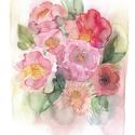 """Akvarell Nyári csokor - art print (akvarell festményem alapján), Képzőművészet, Otthon, lakberendezés, Festmény, Akvarell, Akvarell Nyári virágok és levélkék - art print (akvarell festményem alapján)   """"Nyári csokor"""" rózsas..., Meska"""