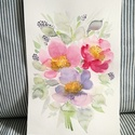 Május virágai, peóniák akvarell virág festmény (eredeti), Képzőművészet, Otthon, lakberendezés, Festmény, Akvarell, Május virágai, peóniák akvarell virág festmény (eredeti)  Három pasztell peónia :) eredeti akvarell ..., Meska