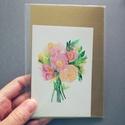 Peónia virágcsokor - MINI art print (akvarell festményem alapján), Dekoráció, Képzőművészet, Csokor, Illusztráció, Peónia virágcsokor - MINI art print (akvarell festményem alapján)  Méret: 8 x 12 cm (a legkisebb ike..., Meska