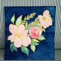 Virágcsokor kék háttérrel-  akvarell virág festmény (eredeti), Képzőművészet, Festmény, Akvarell, Virágcsokor kék háttérrel-  akvarell virág festmény (eredeti)  Három pasztell peónia :) eredeti akva..., Meska
