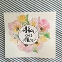 """Otthon édes otthon virágokkal -  akvarell virág kép (eredeti), Képzőművészet, Illusztráció, Otthon édes otthon virágokkal l-  akvarell virág kép (eredeti)  Pasztell virágok és levélkék """"otthon..., Meska"""