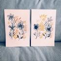 Aranysárga és szürke virágok képpár - 2db akvarell  kép (eredeti), Képzőművészet, Otthon, lakberendezés, Illusztráció, Falikép, Aranysárga és szürke virágok képpár-  2db akvarell  kép (eredeti)  Arany, sárga és szürke árnyalatok..., Meska